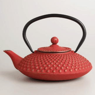 Coral Cast Iron Teapot